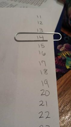 """To keep track of my rows while out n about. I wrote the rows on back of the pattern, then move paper clip as I finish a row."" This is brilliant! pattern, move paper, paper clip"