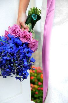 Bright Blue Delphiniums and Pink Roses pink roses, blue flowers, spring weddings, wedding bouquets, wedding flower bouquets, wedding flowers, beach weddings, rose wedding, bridesmaid bouquets