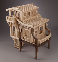 Madison, Wisconsin-based artist and woodworker Ted Lott created this series of small house frames out of wood while in residency at the Anderson Ranch Art Center in Colorado. A nice comment on the role of traditional craft in the modern world.