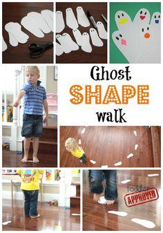 Ghost Shape Walk Halloween game:  shapes, colors, preschool
