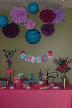 My Little Pony Party -And another view where you can see the poms from PomLove on Etsy. Loved them!! The banners are from Ashleylz96 on Etsy.