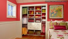 Tip of the Day: Make it easy for young children to pick out and put away their own clothes by lowering shelves and hanging bars in their closet.