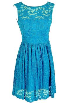 Sleeveless A-Line Lace Overlay Dress in Bright Blue