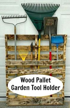 Wood pallet yard tool holder. All you do is remove the two top panels from the pallet, and then screw one of the boards into the bottom.  Sand and burn to expose the wood grain, and seal it.