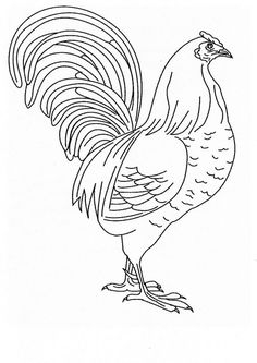 Free Rooster Pictures to Print | free printable chicken coloring page back print this chicken color ...