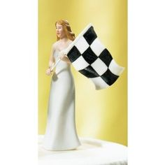 // Checkered Flag Bride Figurine Wedding Cake Toppers