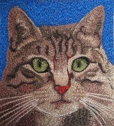 Open European Quilt Championships - cat thread painting image, Dijanne Cevaal workshop