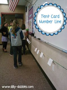 """A tent card number line - she uses this with decimals, but I can see it being used for whole numbers, too!  Great for teaching number sense and """"distance"""" between 2 numbers. fraction, order numbers, number lines"""