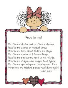 Read to me poem to parents. Also a huge list of books parents / teachers should read to the kids.