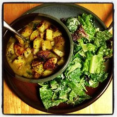Crazy Sexy Kitchen's Split Pea Soup w/ Roasted Taters and Caesar Salad #vegan #glutenfree #recipes #kriscarr #CrazySexyKitchen