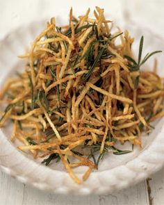 rosemary shoestring fries with lemon salt .v