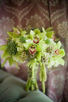 wedding bouquet in tones of green using cymbidium orchids, succulents and amaranthus