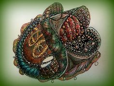 Several intricate zentangle images in color