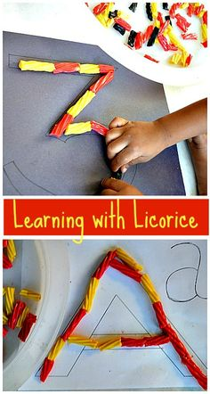 Pre-writing activities with licorice. Scissors skills, fine motor play, creative play.