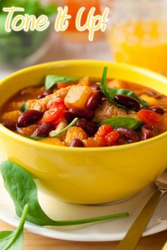 Pumpkin Turkey Chili    Recipe here- http://toneitup.com/blog.php?Pumpkin-Turkey-Chili-5285    Ingredients    1 1/2 tbsp virgin coconut oil  1 1/2 cups chopped onion  3/4 chopped green bell pepper  3/4 chopped yellow bell pepper  1 1/2 cans, 6 oz chopped green chiles  1 1/2 large minced garlic clove....