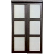 My existing sliding closet doors. They come in a relatively small box disassembled. Three panels screw together for each door and the doors are mounting on the sliding closet door track. The top trim conceals the track.