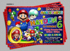 Super Mario Brothers Sonic Heroes Birthday by cgcdesignzStudio, $14.00