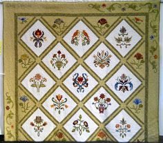 """""""William Morris Friendship Stars"""" by Carol Coltrin. Carol said """"This quilt is the result of CQA mini-group quilt exchange."""" Shown at Camarillo Quilters Association 2012 Quilt Show, Quilting by the Sea."""