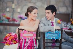 Novia y novio-- Awesome wedding chair decor! So bright & fun! {Dino Gomez}