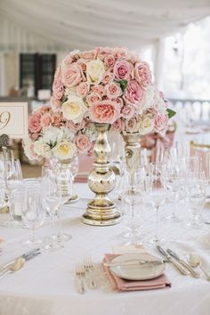 #Centerpiece #Pink | See the wedding on #SMP Weddings |  http://www.stylemepretty.com/texas-weddings/austin/2013/12/11/traditional-austin-wedding/  SMS Photography