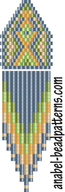 Схема сережек с бахромой - мозаичное плетение (comanche earrings)