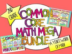 2nd Grade Common Core MATH MEGA BUNDLE {A Year's Worth of Math Materials}....assessments and task cards for ALL 2nd grade standards! $