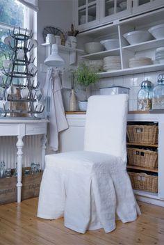Ikea Chair + Bemz Slipcover in Belgian Linen. shown at LLH Designs blog