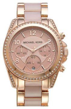 MICHAEL Michael Kors Michael Kors 'Blair' Crystal Bezel Two-Tone Bracelet Watch, 39mm available at #Nordstrom bracelet watch, gorgeous watch, michael kors watch