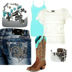 Miss Me Jeans, Turquoise Shirt, and Boots. Country Girl Outfit #CountryGirl