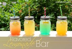 DIY Flavored Lemonade Bar - such a fun idea!  Lots of great pics and ideas.