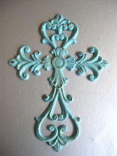 Rustic Aqua Cross Metal Cross Cross Wall Decor Aqua by Swede13