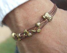 Boho Men's Brass Bead and Tan Leather Bracelet