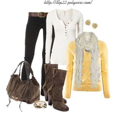 """""""Yellow/Cream/Black"""" by dlp22 on Polyvore"""