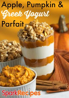 Apple, Pumpkin, and Yogurt Parfait. Start or end your day with this healthy treat.  via @SparkPeople pumpkin, food, healthi treat, snack, healthy treats, appl