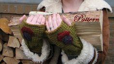 Tunisian Crochet Fingerless Mitt Pattern by FullKnittedJacket, $4.00