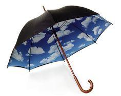 sky umbrella clouds, uncommon goods, modern art, umbrellas, blue skies, gift idea, rain, blues, sky umbrella