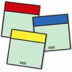 """Monopoly Assorted Paper Cut Outs - Includes 12 each of 3 different designs (36 pieces) Cut outs measure 5"""" tall  (http://store.oblockbooks.com/monopoly-assorted-paper-cut-outs/)"""
