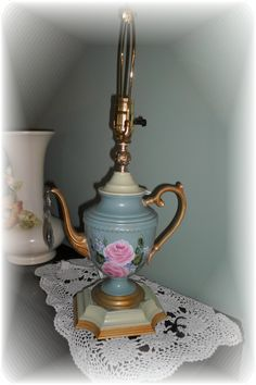 custom designed table lamp from vintage teapot.  By Judy Mullins