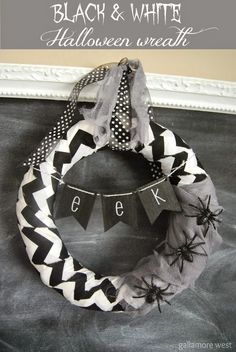 gallamore west: Black & White Halloween Wreath made with PYP mini wood pennants