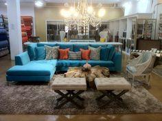 Aqua love affair. Inspirations for the family room.