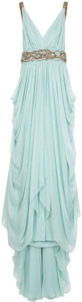 Marchesa Chiffon Plunge Emb Det Gown in Blue | Lyst