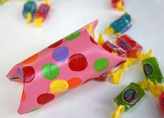 Toilet paper roll pillow box favor filled with Jolly Ranchers!