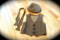 vintage newsboy cap vest and bow tie  boys 3 4 by padiddledesigns, $85.00
