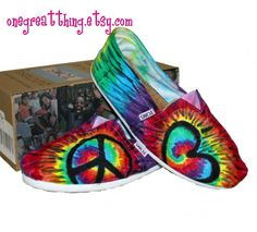 Tie Dye TOMS Peace Sign Shoes
