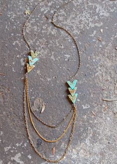 Arrow turquoise an gold necklace.<3