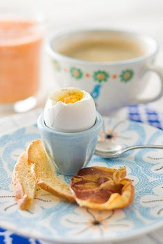 Soft Boiled Eggs with Toast Soldiers and Pancetta Chips