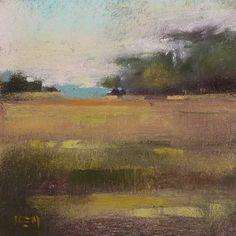 Contemporary Landscape 4x4 pastel by Karen Margulis