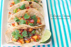 Tilapia Tacos with Peach Mango Salsa