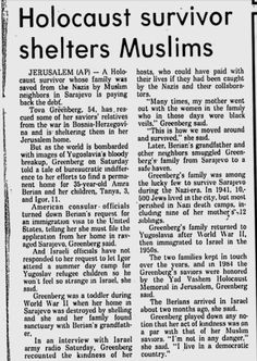 Very sweet touching story. Holocaust survivor shelters same Muslim family that helped his family. :)