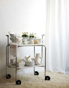 white on white bar cart